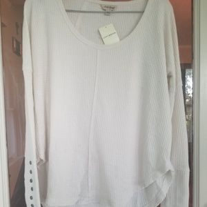 Lucky Brand ivory thermal scoop neck top M